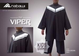 nabawi clothes gamis anak the viper dark brown panjang