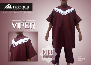 nabawi clothes gamis anak the viper maroon pendek