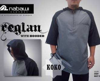 nabawi clothes baju koko reglan hooded abu