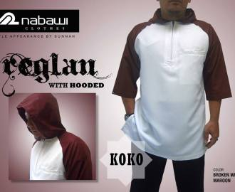 nabawi clothes baju koko reglan hooded putih