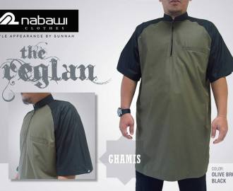 nabawi clothes gamis reglan olive brown