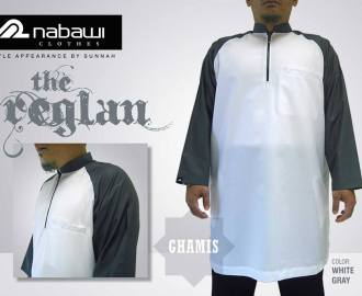 nabawi clothes gamis reglan white gray long