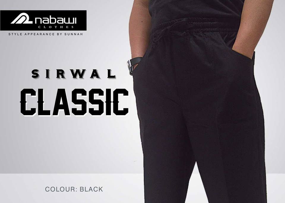 nabawi clothes new sirwal classic black