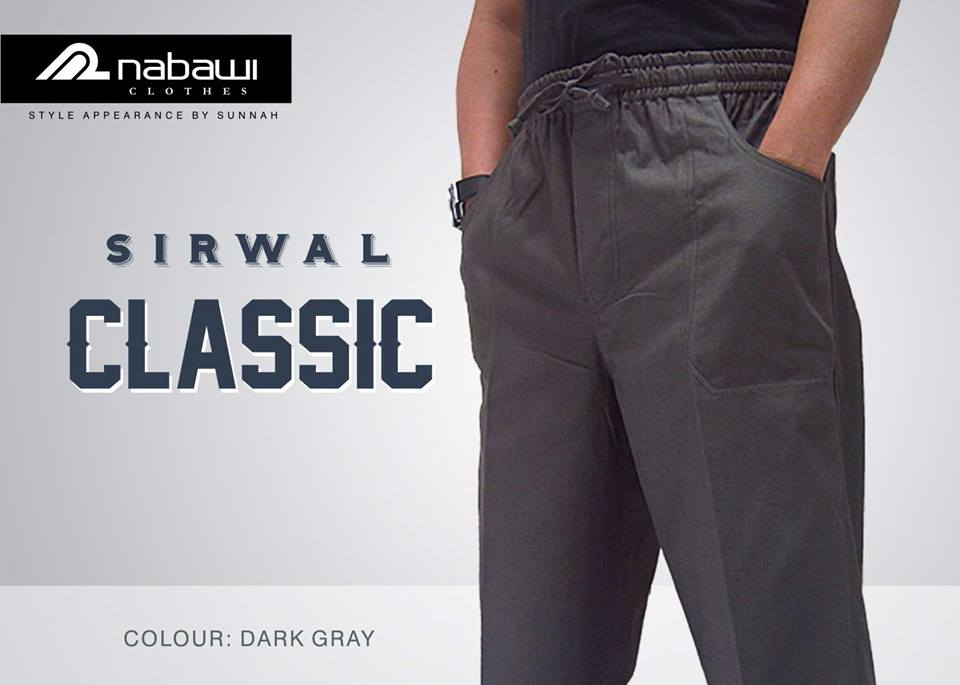 nabawi clothes new sirwal classic dark gray