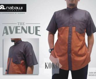 NabawiClothes baju koko the avenue short dark brown brick