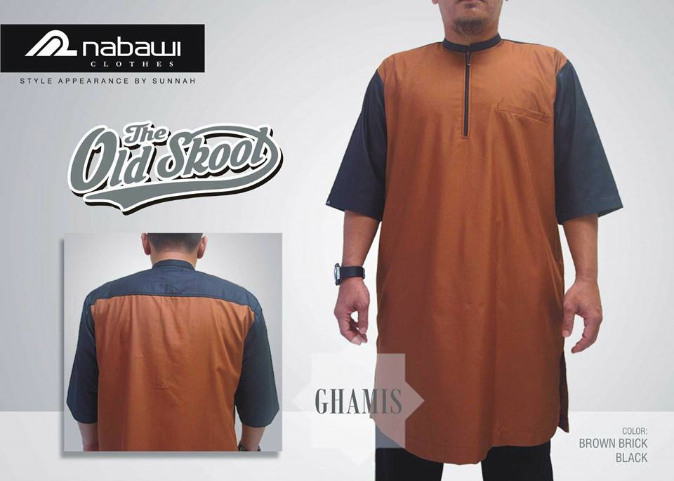 NabawiClothes Baju Ghamis Old Skool Brown brick