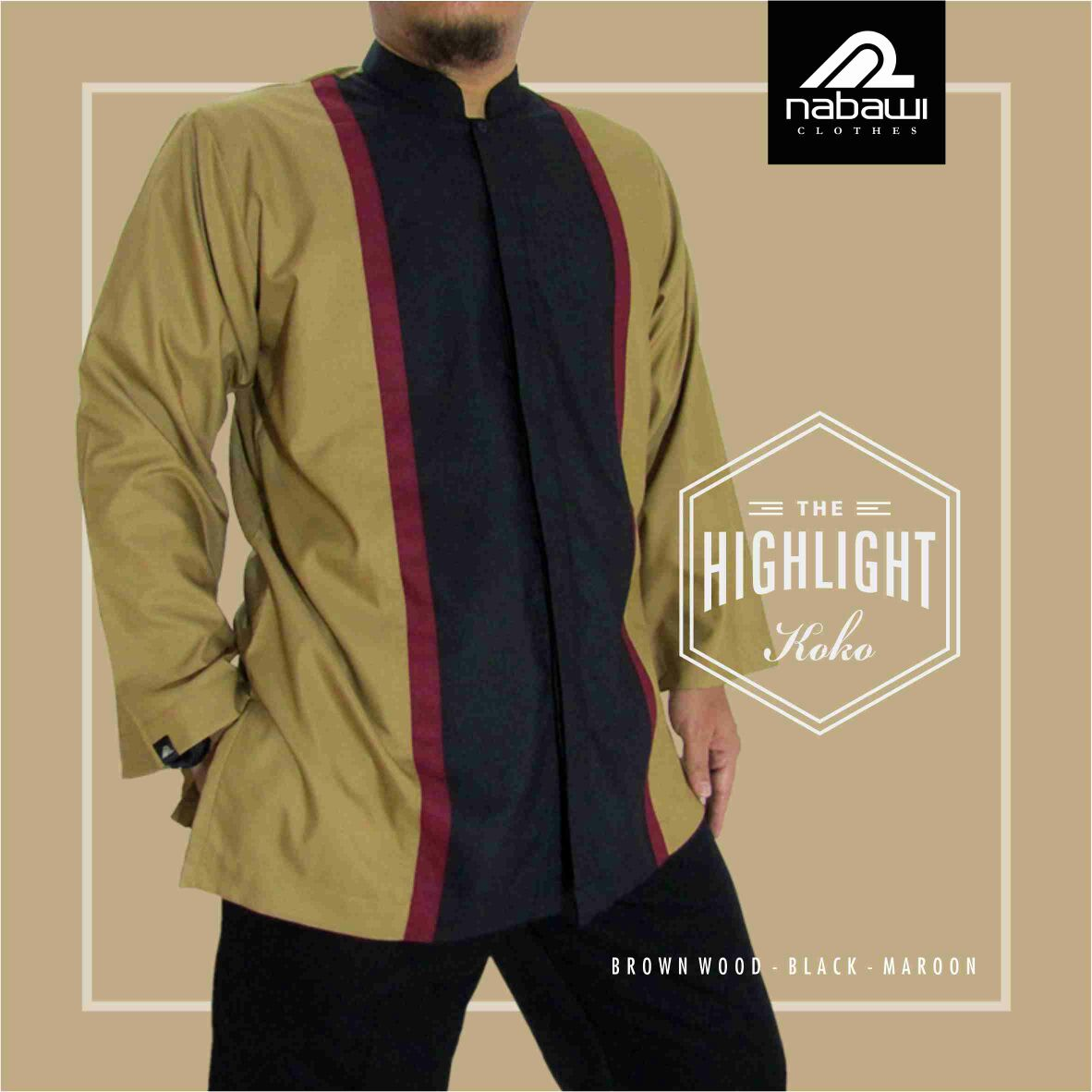 Jual Baju Koko Pria Muslim Nabawi Clothes Terbaru Ramadhan 2018 coklat
