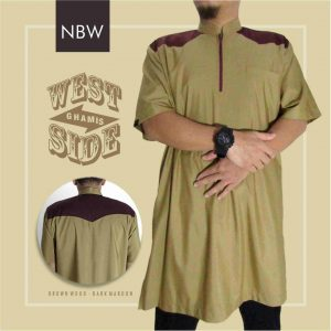 Baju Koko Pakistan Pria West Side Nabawi Clothes Merah Coklat