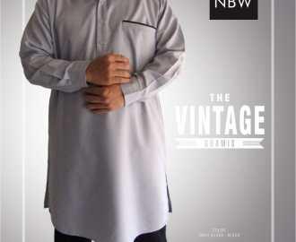 Baju Koko Gamis Muslim Pria VINTAGE Manset Kancing Resmi nabawi abu