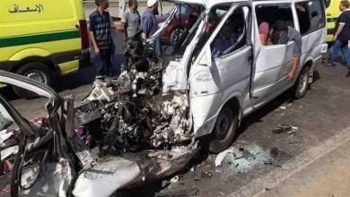Photo of إصابة 11 شخص في حادث تصادم سيارتين على الطريق الزراعي بطوخ