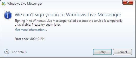 Messenger in sign live windows Error 80048820: