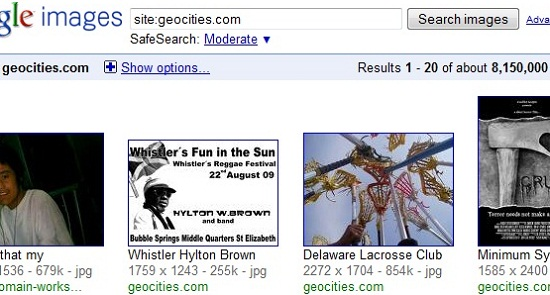 geocities shutting down google image results october
