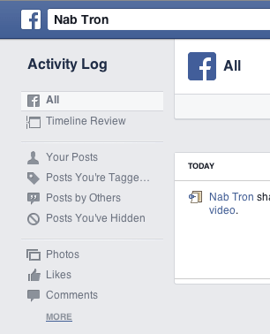 Delete shared links videos from Facebook Wall