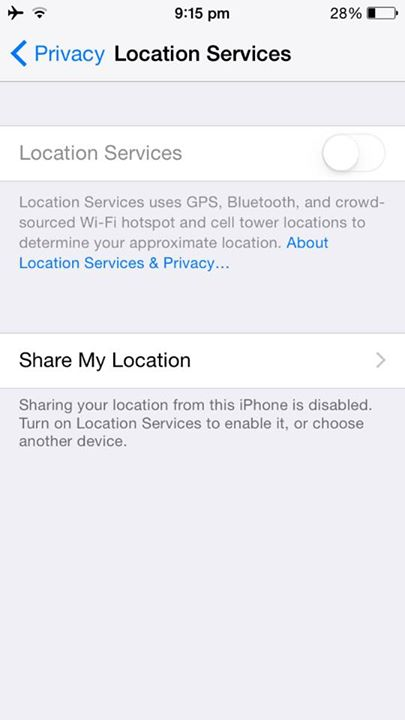 Location services disabled after iOS 8 update on iPhone error