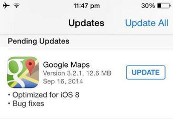 ios 8 update google maps app store