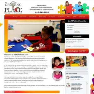 The Growing Place website design (first design from when our daughter, Gabriella Pinder, attended)