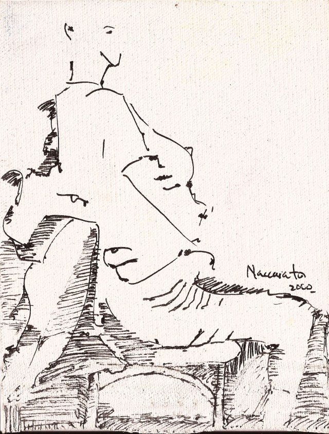 sketch 01, pen on canvas, Naccarato, Montreal, 2000