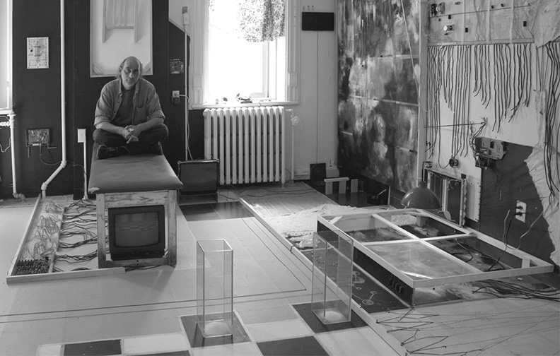 Image 03(cropped): John Naccarato, Vertebra, Part 2: The Skinning of Memory (VP2) 20'W x 17'H x 16'D, Installation. Partial overview of VP2: left center. Artist Studio, University of Ottawa, Ottawa, Canada 2009