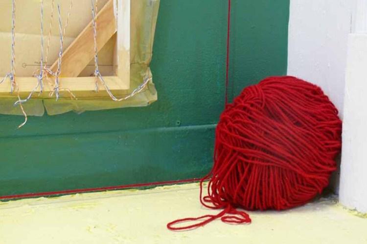 Red Wool (cropped): John Naccarato, Vertebra, Part 2: The Skinning of Memory (VP2) Detail. Artist Studio, University of Ottawa, Ottawa, Canada