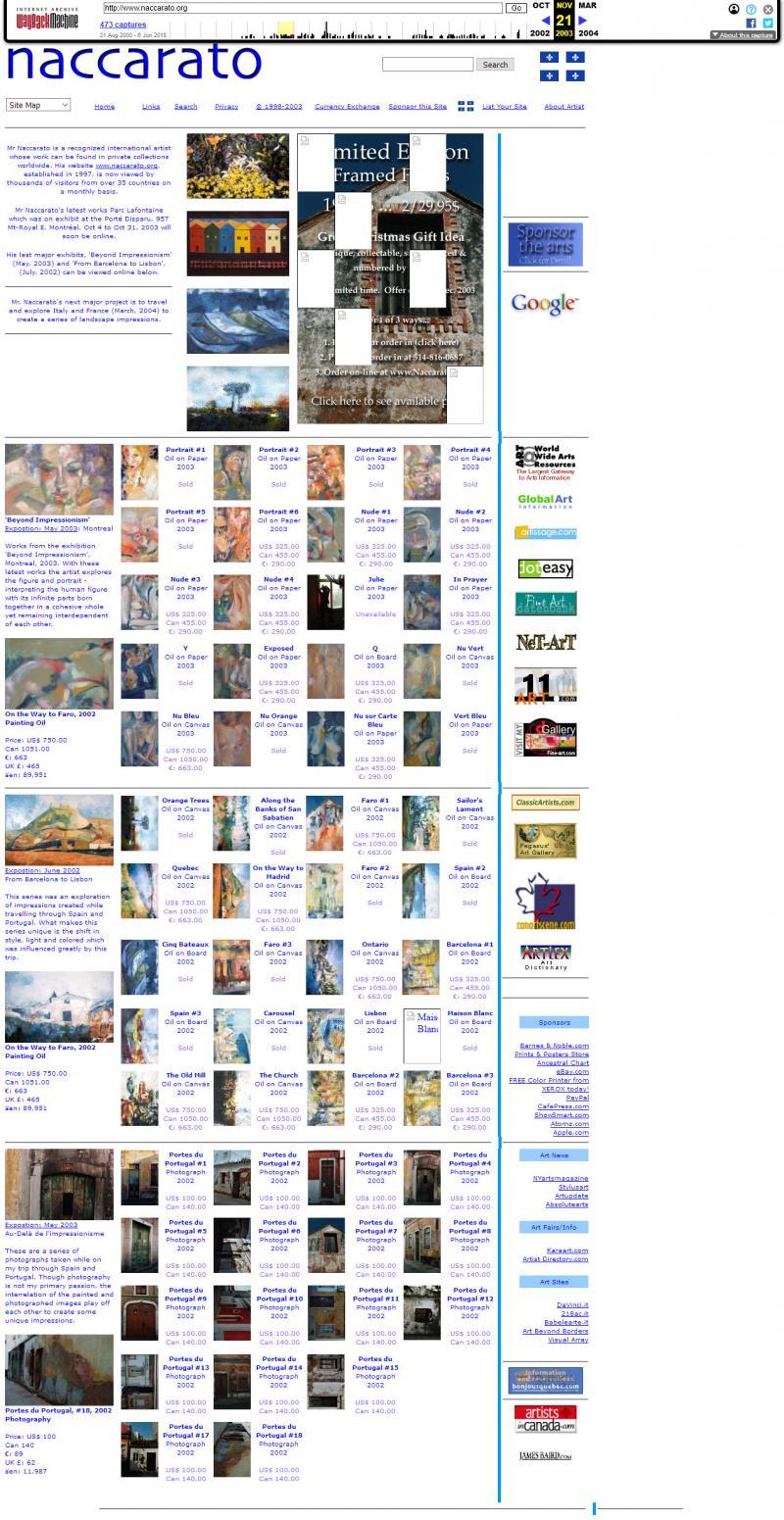 Naccarato.org Website, Wayback Machine, Internet Archive, September, 2003