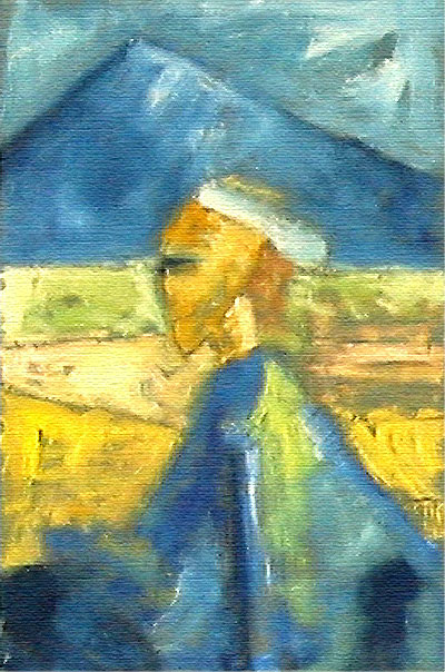 """mask #03, mask studies, oil on paper, 12"""" x 18"""", naccarato, Montreal, 2002"""