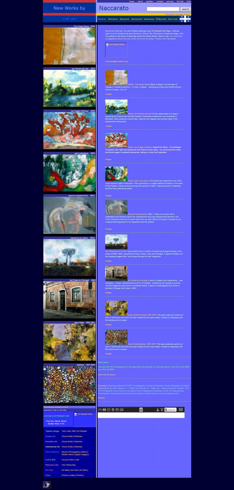 Naccarato.org Website, Wayback Machine, Internet Archive, February, 2005