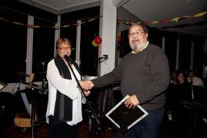 CEO Mary Buckskin thanks Board Member Les Kropinyeri