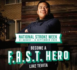 National Stroke Week Become a F.A.S.T. Hero poster - image of man standing against a wooden fence, hand on hip, looking skywards like a hero