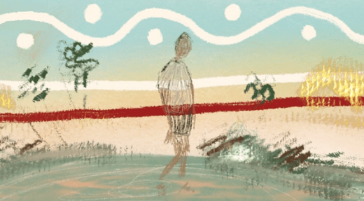 crayon & pencil drawing of transparent figure walking on country