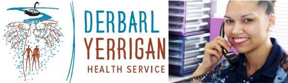 Derbarl Yerrigan Health Service logo & photo of employee at office desk answering the phone