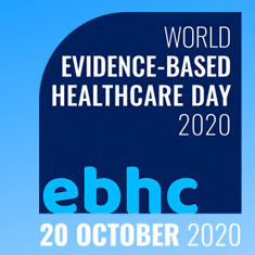 logo with words World Evidinece-Based Healthcare Day 2020 ebhc 20 October 2020 light blue & navy