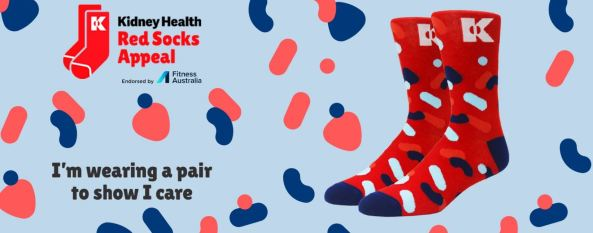 Kidney Health Red Socks Appeal banner - picture of red socks against background of pink and blue kidney vectors & words 'I'm wearing a pair to show I care'