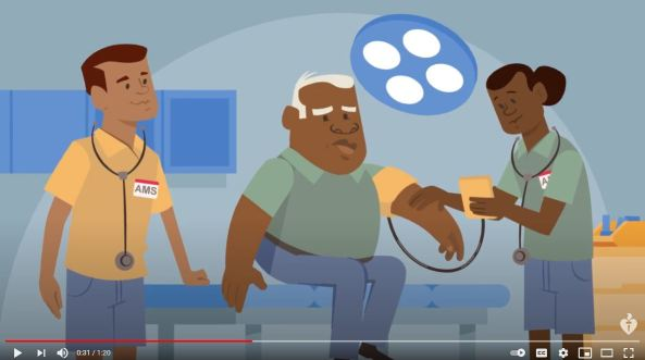 image from Get a heart check animation - Aborigial man with two AMS health workers getting his blood pressure taking