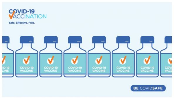 image from DoH community engagement kit vector image of 8 COVID-19 VACCIN vials; text 'COVID-19 Vaccination Safe. Effective. Free. BE COVIDSAFE