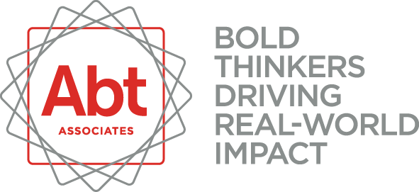 Abt Assoiciates logo, text Abt Associates with red square, grey squares at different angles around the red square & text 'Bold Thinkers Driving Real-World Impact'