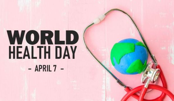 banner text 'World Health Day April 7, pink wooden wall with stethoscope around plasticine world in blue & green