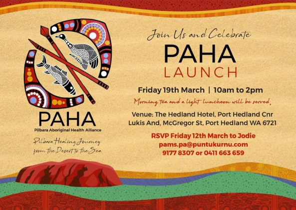 flyer for the PAHA launch with address, timing etc