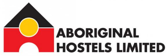 Aboriginal Hostels Limited logo, house with black roof, yellow circle that takes up half of the black roof & a third of the red body of the building, red body of the building had a semi-circle cut out for the door