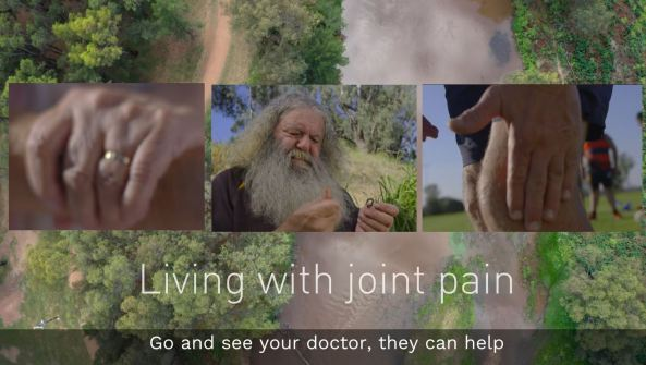 video slide drone over brown river, green vegetation on banks, photo of Aboriginal man with fishing hook, knee of Aboriginal footballer, Aboriginal woman's arthritic hands, text 'living with joint pain - go and see your doctor, they can help'