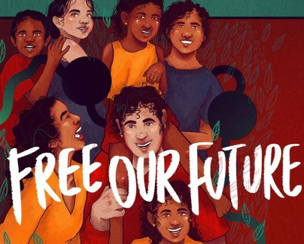 painting of 7 Aboriginal youth with text 'free our future'