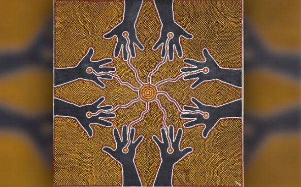 Aboriginal dot art of 8 palms each with dot flowing to central circle of concentric circles, yellow, grey, red