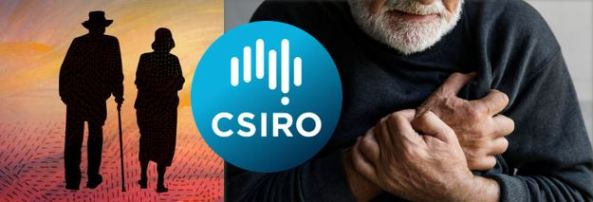 collage of Aboriginal painting of silhouette of elderly Aboriginal man & woman against sunset colours, CSIRO logo - blue circle with text ;CSIRO' & vector map of Australia made up of 6 thick vertical lines & white dot & torso of Aboriginal man clutching his chest
