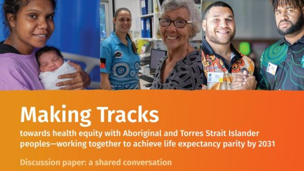 extract from cover of Making Tracks discussion paper cover - photos of Aboriginal mother & baby, AHW, Aboriginal Elder female & two young Aboriginal men