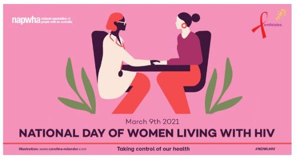 National Day of Women Living with HIV NAPWHA banner - pink background vector image female doctor and patient