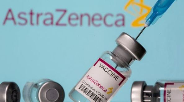 vaccine vial with words COVID-19 & text AstraZeneca