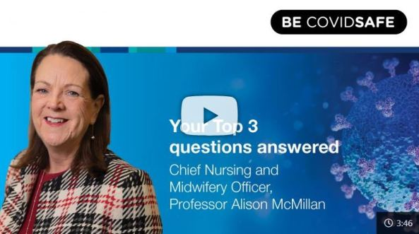YouTube title page text 'Your top 3 questions answered Chief Nuring and Midwifery Officer, Professor Alison McMilan' with photo of Prof McMilan in checked blazer, blue background with COVID-19 virus cell