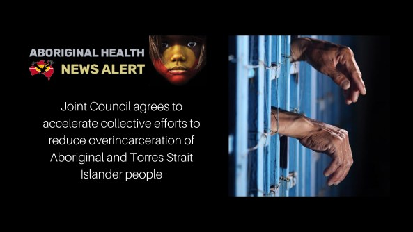 feature tile text 'Joint Council agrees to accelerate collective efforts to reduce overincarceration of Aboriginal and Torres Strait Islander people' & photo of an Aboriginal man's hands through prison bars