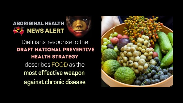 feature tile text ; dietitians' reponse to the draft national preventaive health strategy describes food as the most effective weapon against chronic disease' photo of bowl of Aboriginal native foods