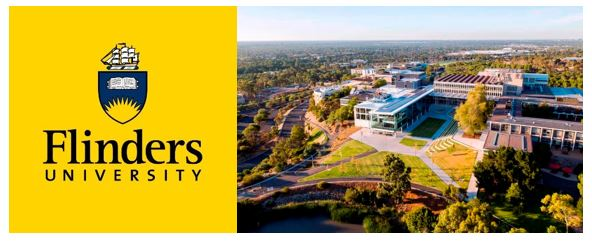 logo text 'Flinders University' ship, plaque with segment of sun at bottom of the plaque, open line drawing or book at top of plaque with navy background, line drawing of a ship with sails on top of plaque & drone view of the uni