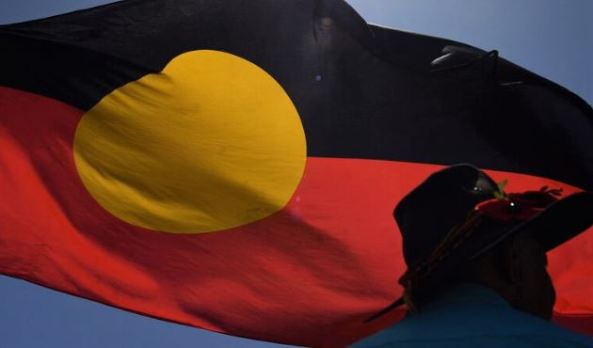 Aboriginal flag billowing in the wind